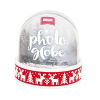 Śniegowa Foto-kula (czerwony pasek Reniferek)